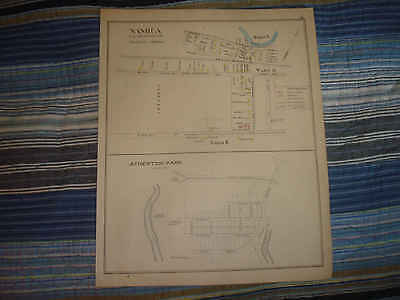 1892 ANTIQUE NASHUA NEW HAMPSHIRE HANDCOLORED MAP w ATHERTON PARK MORE NR