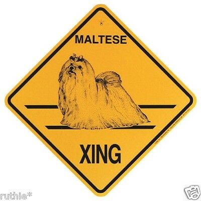 Maltese Dog Crossing Xing Sign New