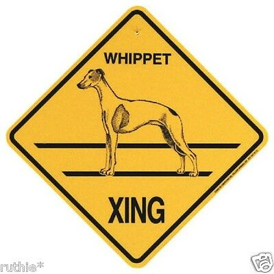 Whippet Dog Crossing Xing Sign New