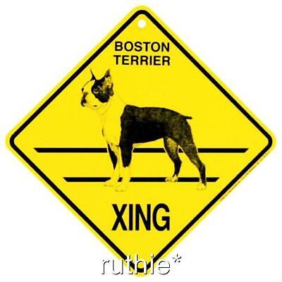 Boston Terrier Dog Crossing Xing Sign New