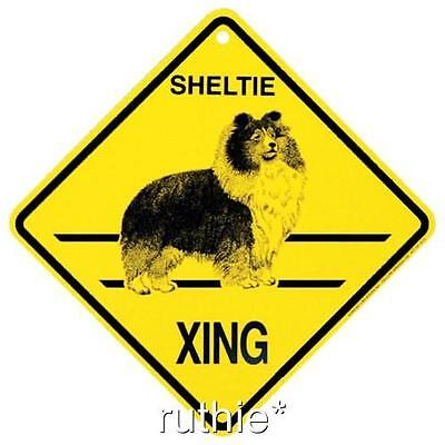 Sheltie Dog Crossing Xing Sign New Shetland Sheepdog Made in USA