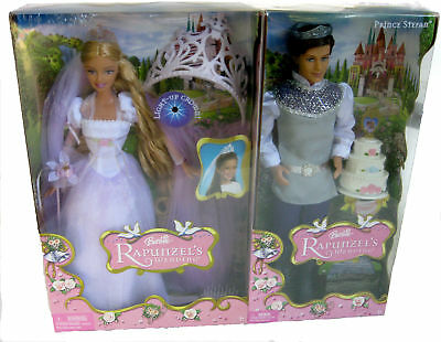 Barbie Rapunzel's Wedding with Prince Stefan and Barbie - cake and child's crown