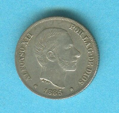 Spain Philippines 10 Centavos 1885 Alfonso Xii #306