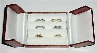 Jewelry Leatherette 3 Slots Snap 6 Rings Box - Red
