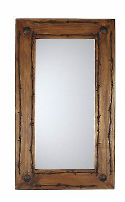 Old Ranch Rustic Barbed Wire Mirror-Mexican-20x34 in-Western-Lodge-Wood-Wall