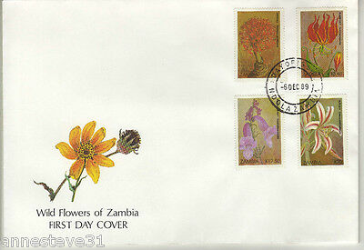 Lovely Fdc From Zambia 1989 From Zambia 'wildflowers'