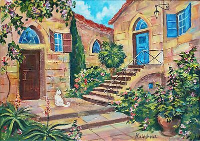 """Yard in Safed"" (Zefat),Signed Original Oil Painting,Israel Jewish Art, Kabbalah"