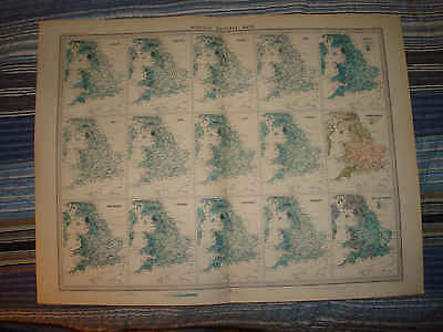 Huge Antique 1922 England Wales Rainfall Weather Map Nr