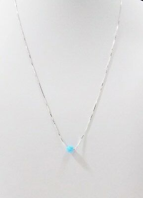 5 pcs St Silver 925 BOX Chains with 5mm BLUE OPAL BEADS