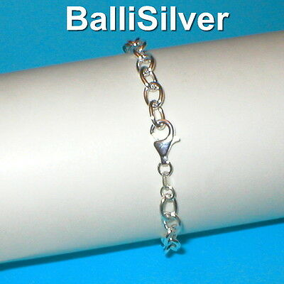10 pieces Sterling Silver 925 7x9mm Hollow OVAL ROLO Chain BRACELETS Lot