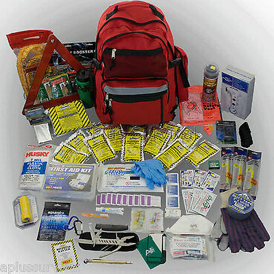 3 Day Emergency Survival Red Backpack Ultimate Car Auto Truck Bug Out Bag Kit