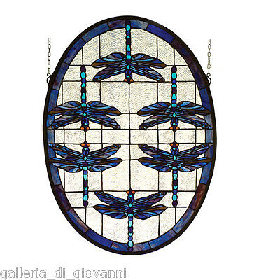 Blue Dragonfly Stained Glass Oval Tiffany Style Window