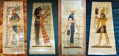 "AUTHENT Collection Set of 4 Handmade Papyrus Egyptian Art Painting_32x12"" Inches"