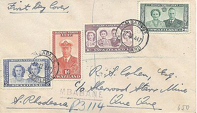 Swaziland 1947 Royal Visit Fdc Mailed