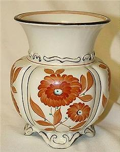 Mitterteich Hand Painted, Footed Melon Vase, Older Mark