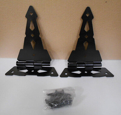 """Pair Of Decorative Black Metal Triangle Gate Hinges 10 1/4"""" Long X 7 1/4"""" Wide"""