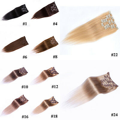 15-36inch Full Head Women Clip in 100% Real Soft Human Hair Extensions Straight