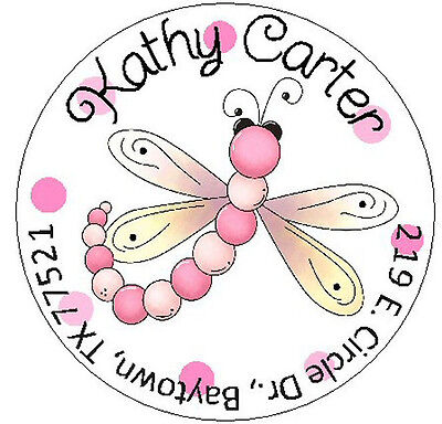 PINK DRAGONFLY -  Round Return Address Labels