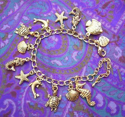 Childs MERMAID Seahorse Starfish Dolphin Turtle Charm Gold P Kids Girls Bracelet
