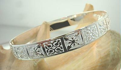 10Mm Bm Solid Sterling Silver Hawaiian Raised Mixed Modern Day Quilts Bangle #1