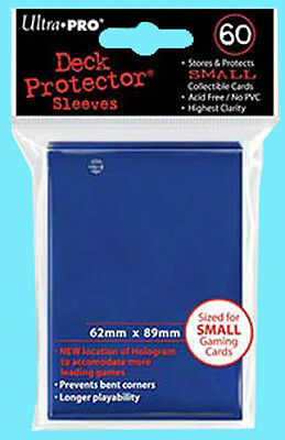 60 Ultra Pro DECK PROTECTOR Small Size BLUE Card Sleeves NEW Yu-Gi-Oh Game Pack