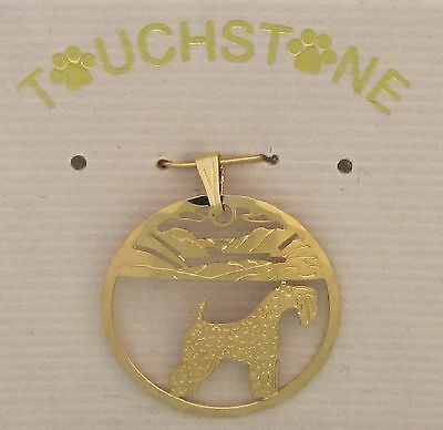 Kerry Blue Terrier Jewelry Gold Pendant for Necklace by Touchstone