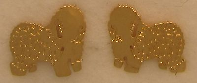 Old English Sheepdog Jewelry Gold Post  Earrings