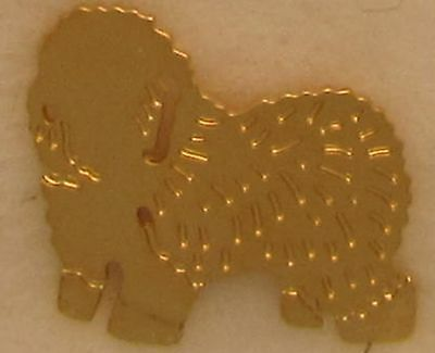 Old English Sheepdog Jewelry Small Gold Pin