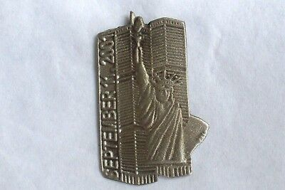 Never Forget 9/11  pin- WTC and Statue of Liberty-September 11, 2001