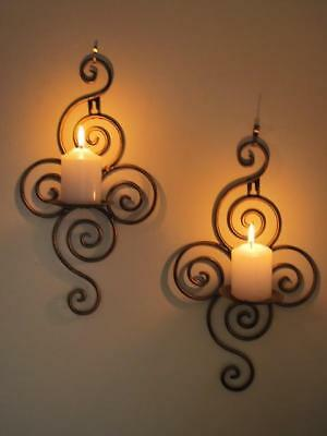 Pair of Iron Scrolls Candle Sconce Holder Antique Brass