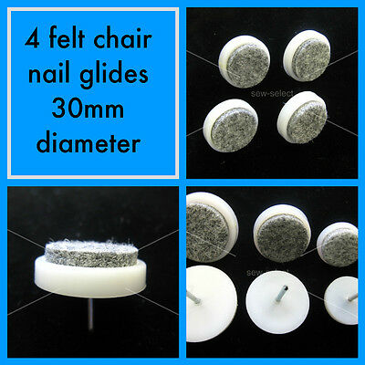 4 Felt nail glides chair leg feet Anti scratch wood floor potection 30mm Large
