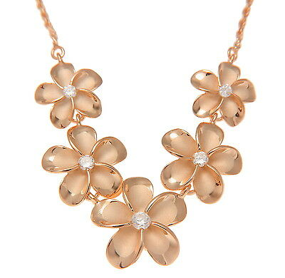 aa64865170 Pink Rose Gold Plated Silver 925 5 Hawaiian Plumeria Flower Necklace Large