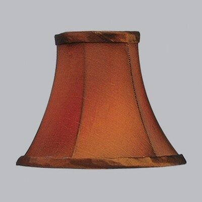 Livex 6 in. Wide Bell Shaped Clip On Chandelier Shade, Brown, White Fabric Linin