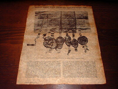 World's Oldest Stock Certificate (Deed of Exchange) 1288, Antiqued Replica