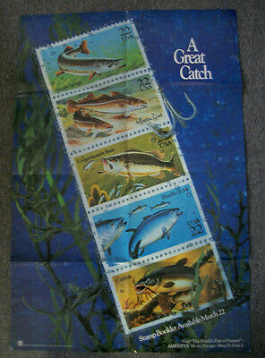 1986 A GREAT CATCH, US Post Office Fishing Stamp Poster