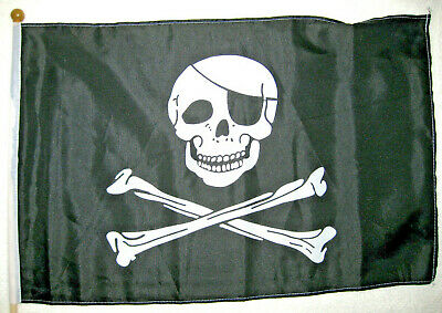 Stockflagge Pirat mit Augenklappe 30x45cm  Piratenflagge Flagge Polyester