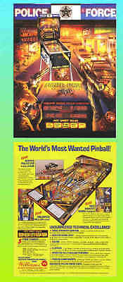 POLICE FORCE 1989 Williams Pinball Advertising  Flyer