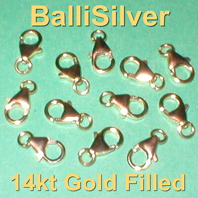 50 pcs 14kt GOLD FILLED 10mm Pear Shape Trigger LOBSTER CLAW CLASPS w Jump Rings