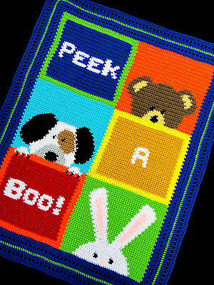 Crochet Patterns - PEEK A BOO! Color Graph SCRAP YARN Baby Afghan Pattern *EASY*