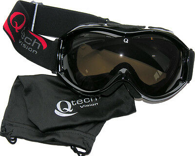 Motocross GOGGLES in BLACK Off Road for MX Helmet by Qtech