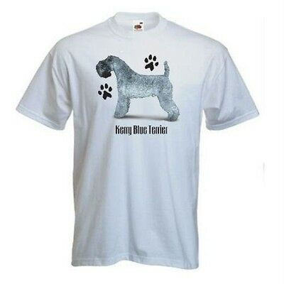 Kerry Blue Terrier Paws Design Printed On A White FOTL T-Shirt