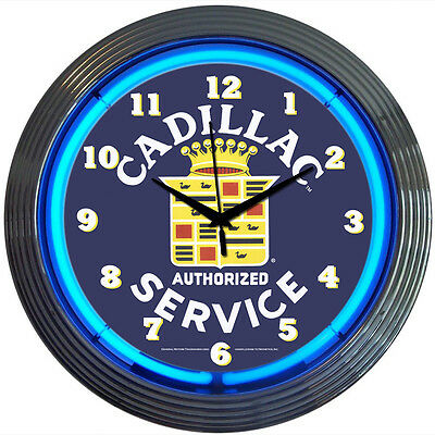 Cadillac Crest  Service Auto Car Neon Sign Art Clock GM