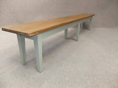 Handmade Farmhouse Pine Bench With A Painted Base 9Ft