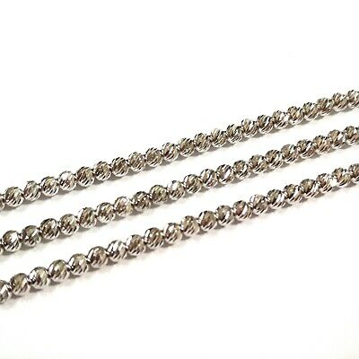 3 pieces RHODIUM PLATED Sterling Silver 925 3mm LASER CUT BEAD Necklaces Lot 20""