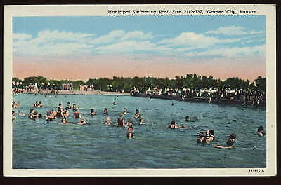 GARDEN CITY KS VINTAGE POSTCARD Municipal Swimming Pool