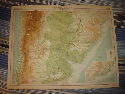 Huge 1922 Antique Argentina Chile Buenos Ayres South America Map Gorgeous Nr