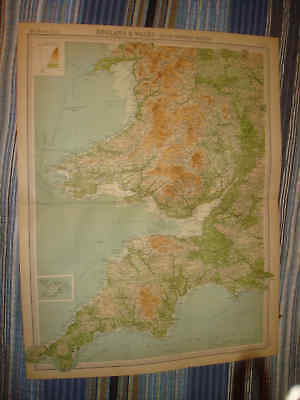 Huge Superb Antique Southwestern England Wales Scilly Islands Times Atlas Map Nr