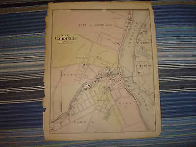 ANTIQUE HALLOWELL WATERVILLE WINSLOW GARDNER MAINE HANDCOLORED MAP Superb NR