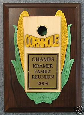 Personalized Cornhole Corn Hole Plaque Award Trophy