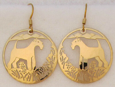 Lakeland Terrier Jewelry Gold Dangle Scene Earrings